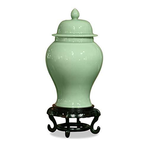 - ChinaFurnitureOnline Traditional Porcelain Decorative Ginger Jar - Celadon Green