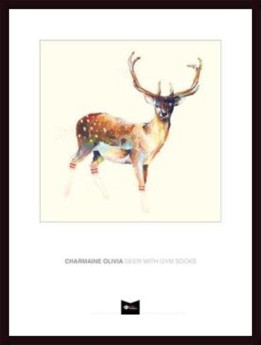 - Deer Wearing Gym Socks, framed black wood, white matte