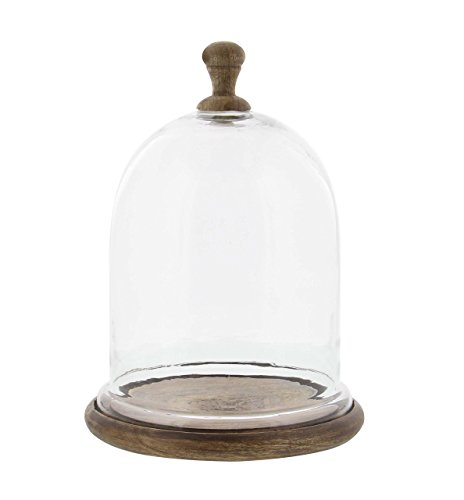 - Deco 79 94961 Dome-Shaped Wood and Glass Cloche, 11