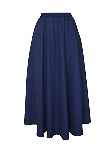 (XiYu Skirt For Women Long Length - Flax Maxi Full Ankle With Pocket Elastic Waist Plain Navy - 80CM)