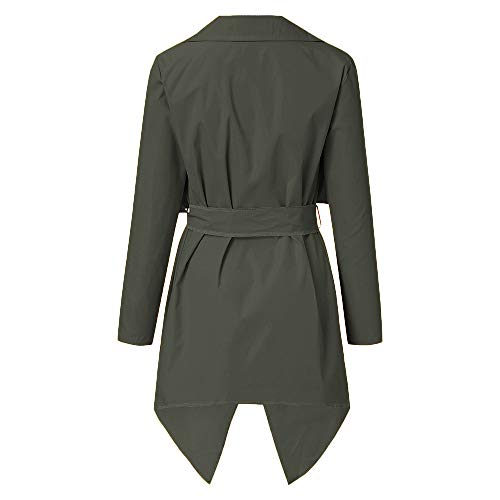 NUWFOR Women's Loose Solid Irregular Hem with Lapel Coat Trench Coat Cardigan Tops(Army Green,S) by NUWFOR (Image #2)
