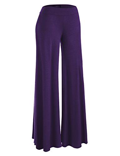 Made By Johnny MBJ WB1104 Womens Wide Leg Palazzo Lounge Pants XXL Dark_Purple