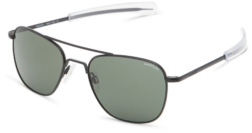 Aviator Randolph green 55 Engineering AF52614 Square Sunglasses Black q87ZU8