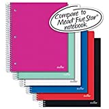 Office Depot(R) Brand Spiral Stellar Poly Notebook, 10 1/2in. x 8in, 3 Subject, Wide Ruled, 150 Sheets, Assorted Colors