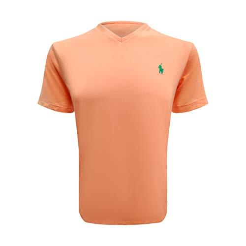 Ralph Lauren Polo Men's Cotton V-Neck T-Shirt Orange (Small, ()
