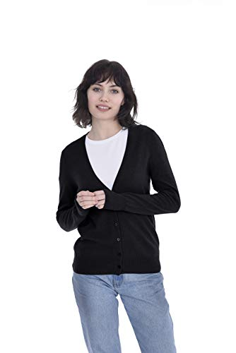 Cashmeren Women's 100% Pure Cashmere Button Front Long Sleeve V Neck Cardigan Sweater (Black, Small)