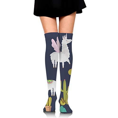 MFMAKER Womens Over Knee High Casual Alpaca Sloth and Catus Socks Tube Leg Thigh High Stockings Leg Warmers Socks