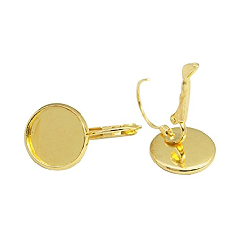 NBEADS 200 Pcs Brass Lever Back Hoop Earring Components, Nickel Free, Lead Free and Cadmium Free, Flat Round, Golden, 25x14mm; Tray: 12mm (Hoop Round 25 Mm)