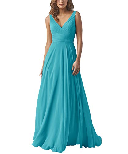 Yilis V-Neck Ruched Bodice A-line Formal Evening Dress Floor Length Prom Party Gowns Aqua Blue US4