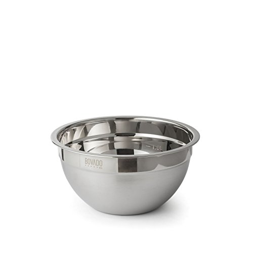 Stainless Steel Mixing Bowl - 2qt - Flat Bottom Non Slip Base, Retains Temperature, Dishwasher Safe - By Bovado USA ()