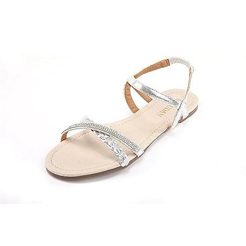 Bridal flat sandals amazon junglespirit Image collections