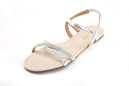 Fashion Women Shoes Sandal (Mu Dan Womens Shoe Flat Braided & Rhinestone Comfortable Slingback Sandal (11 B(M) US, silver))