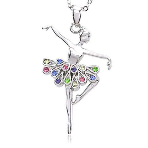 Ballerina Ballet Dancer Dancing Girl Colorful Tutu Pendant Necklace Jewelry TranShop TM