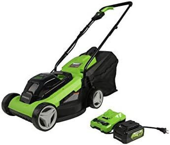 """317OhTudKFL. AC  - Greenworks 24V 13"""" Lawn Mower, 4Ah USB Battery and Charger Included MO24B410"""