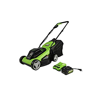 Greenworks 24V 13″ Lawn Mower, 4Ah USB Battery and Charger Included MO24B410