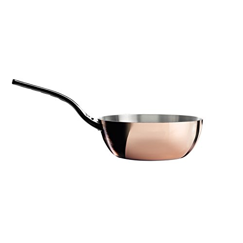 PRIMA MATERA Conical Copper Stainless Steel Saute-Pan 9.5-Inch with lid by De Buyer