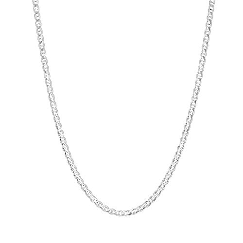 - 3mm .925 Sterling Silver Flat Mariner Link Anchor Chain Necklace (20