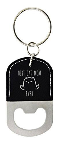ThisWear Cat Lovers Gifts for Women Best Cat Mom Ever Middle Finger Cat Cat Gifts for Women Leather Bottle Opener Keychain Key Tag Black