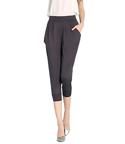 Femmes Large Pantalon Court Sarouel Plus Gris Confortable Haute Taille Bermudes Vêtements La Décontracté Été Couleur Élastique Unie HdwqdTg