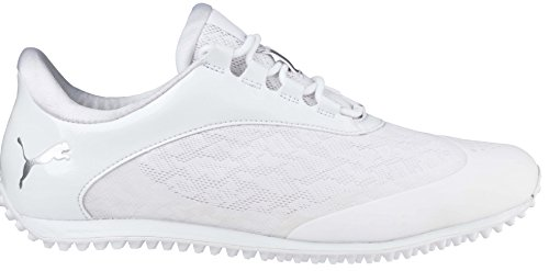 Puma Golf Women's Summercat Sport Golf Shoe, White/Silver/High Rise, 8.5 Medium US