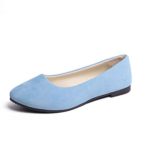Orangetime Pointy Toe Shoes Women Solid Ballet Flats Comfort Solid Flat Shoes for Work Slip On Moccasins Light Blue 40