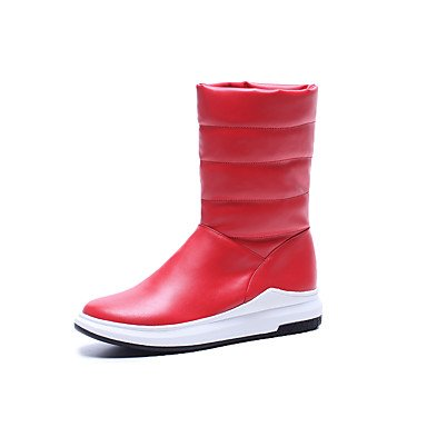 Outdoor US5 EU35 Punta Donna Scarpe Fall Fashion CN34 Stivali UK3 Bianco Stivali Scarponi Tonda Similpelle Mid Boots Rosso Winter Per RTRY Nero Piattaforma Casual Calf Snow TBgxq5Pww