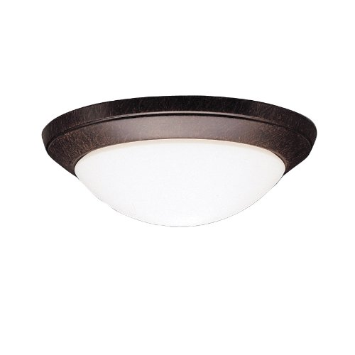 Kichler  8881TZ 1-Light Flush Mount Ceiling Light, Tannery Bronze with Satin-Etched Cased Opal Glass -