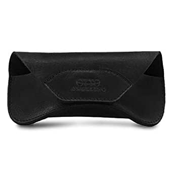 Londo Genuine Leather Case for Eyeglass, Sunglasses, Goggles and Spectacles with Magnetic Closure (Black)