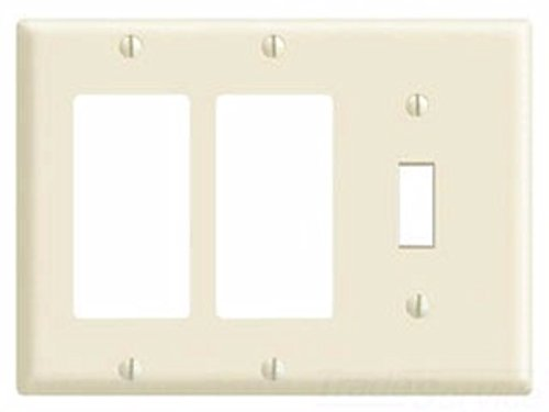 Leviton 80431-W 3-Gang 1-Toggle 2-Decora/GFCI Device Combination Wallplate, Standard Size, Thermoset, Device Mount, White