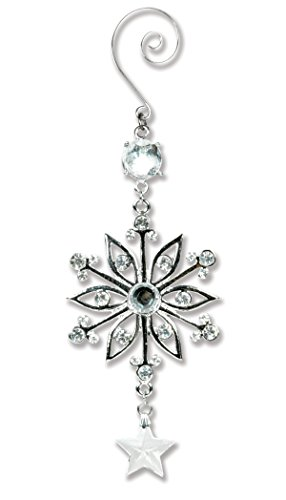BANBERRY DESIGNS Silver Snowflake Ornament - Silver Metal and Clear Crystal Filigree Ornament - Silver Christmas Decoration - Stocking Stuffer
