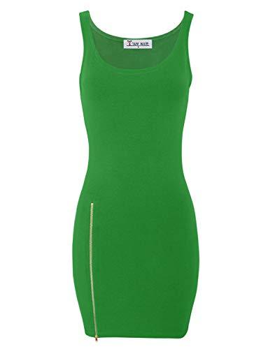 - TAM WARE Women Classic Slim Fit Tank Bodycon Mini Tee Dress TWCWD068-082-GREEN-US M/L(Tag Size L)