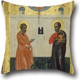 16 X 16 Inches / 40 By 40 Cm Oil Painting Unknown Cretan - Saints Peter And Paul Pillow Cases,double Sides Is Fit For Bar,home Office,festival,boys,teens (2)
