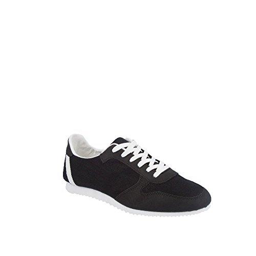 9c38a1267d27 Ideal Shoes – Sneaker Männer BiMaterial Levi Schwarz Schwarz ...
