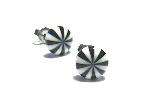 Beetlejuice Peppermint Candy Earring - Black and White - Tiny Food Jewelry ()