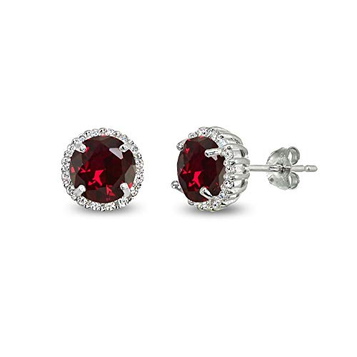 (Sterling Silver Created Ruby & Cubic Zirconia 6mm Round-cut Halo Stud Earrings)