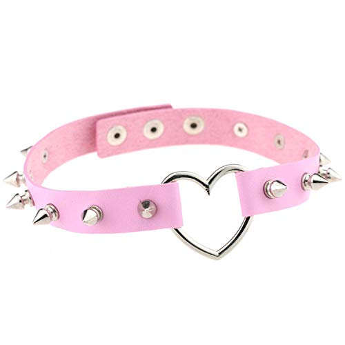 Friendshiy Silver Color Heart Spike Collar Women Harness for sale  Delivered anywhere in USA