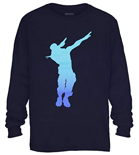 Mad Engine Fortnite Shirt Boy's Dab Dance Emote Long Sleeve T-Shirt (X-Small 4) Navy ()