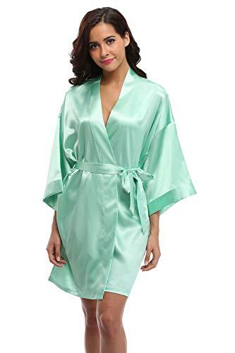 (WitBuy Satin Kimono Robe Short Silk Bathrobe for Bride and Bridesmaid Nightgown Mint Green XS)