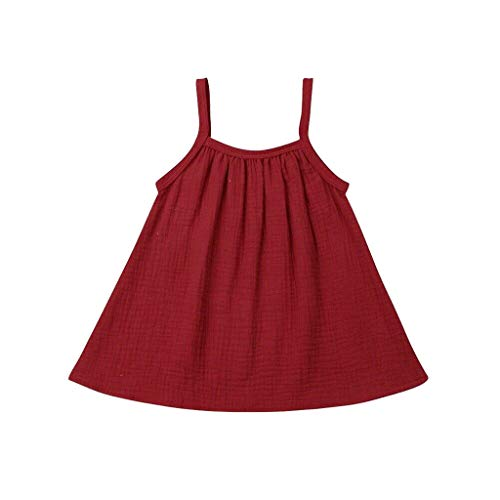 TIFENNY Toddler Baby Sling Dress Kids Girls Sleevless Ruched Solid Dress Casual Clothes Cotton Linen Soft Tops Shirts Dress Red