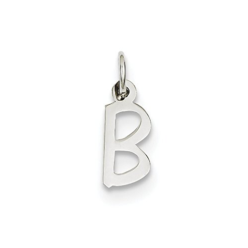 14k White Gold Solid Polished Small Slanted Block Initial B Charm (14k Polished Block)