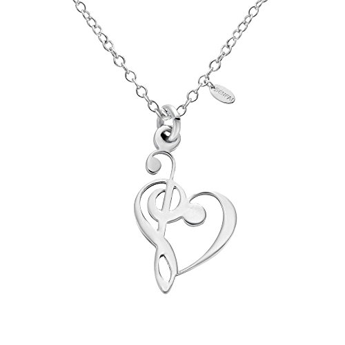 SENFAI Latest Tiny Music Heart Charm Pendant Stainless Steel Necklaces Unisex Jewelry (Silver) ()
