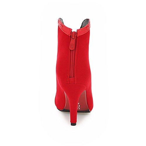 Boots Toe Martin Heel Womens Lucksender Pointed Ankle High Red zTqP4fZw