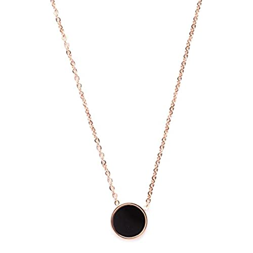 cheap Pendant Necklace Black and White Double Sided Circle | Rose Gold Necklace Round Charm Minimalist Style get discount