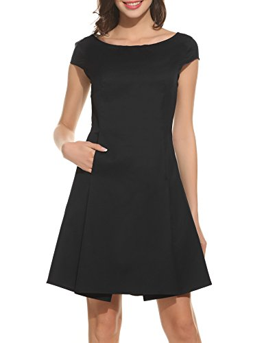 ACEVOG-Womens-1950s-Retro-Vintage-Cap-Sleeve-Cocktail-Party-Swing-Dress-Black-M