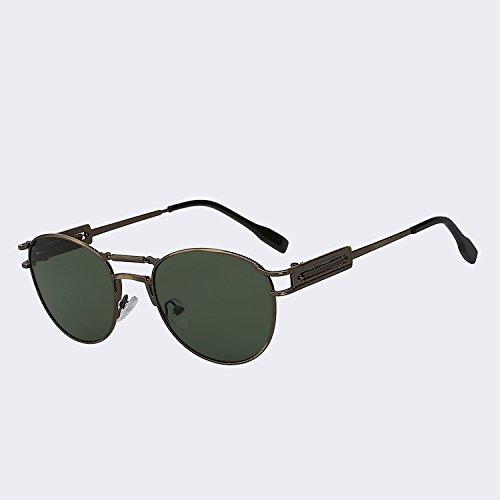 de dobles Gafas latón w metálicas moda de calidad de Oculos de marrón sol lente Brass lens hombres del TIANLIANG04 Gafas alta G15 vigas Vintage UV400 para gafas W Steampunk hombre qxPIwXp4Iz