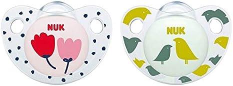 Nuk Trendline - Chupete de silicona con forma de mandíbula (0-6 meses, con caja para chupete, diseño de flores y pájaros): Amazon.es: Bebé