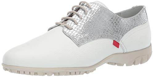 Marc Joseph New York Womens Golf Genuine Leather Made in Brazil Pacific Lace up Fashion Shoe Moccasin, White Grainy/Silver, 9.5 B(M) US