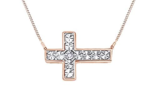 White Natural Diamond Accents Sideways Cross Pendant Necklace in 14k Rose Gold Over Sterling Silver (White Gold Sideways Necklace)