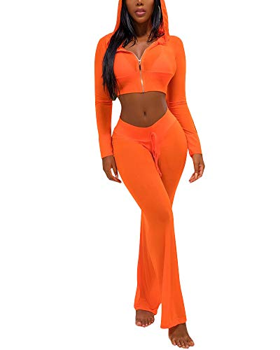 Womens See Though Sheer Mech Hoodies Crop Top Pants Set 2 Piece Outfits Bikini Swimsuit Cover up Orange S