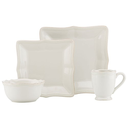 - Lenox French Perle Bead White Square 16 Piece Dinnerware Place Setting Set, Service for 4